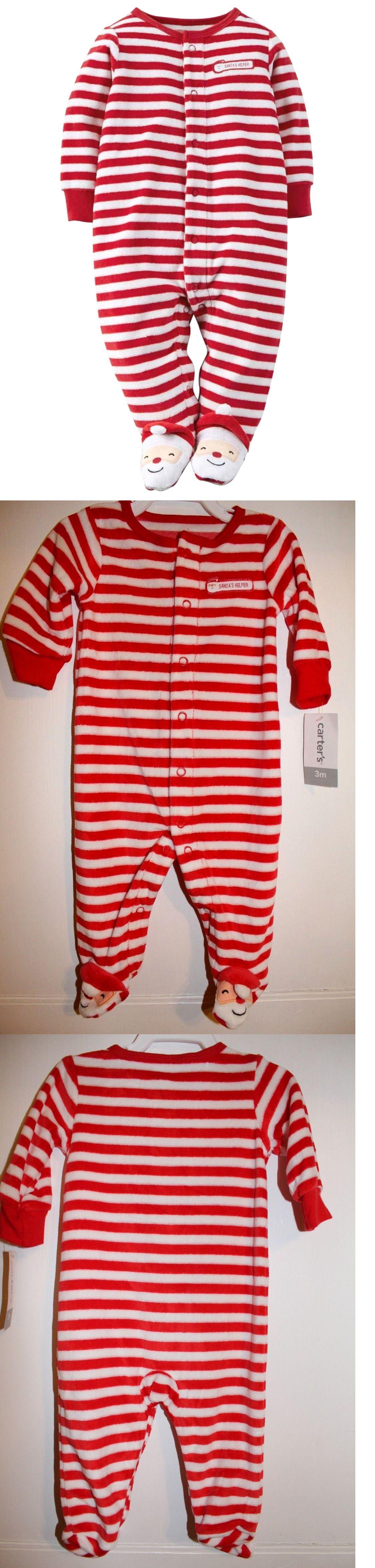 34ff46f74 Sleepwear 163400  Nwt Carter S Baby Boy Girl Santa Footed Striped ...