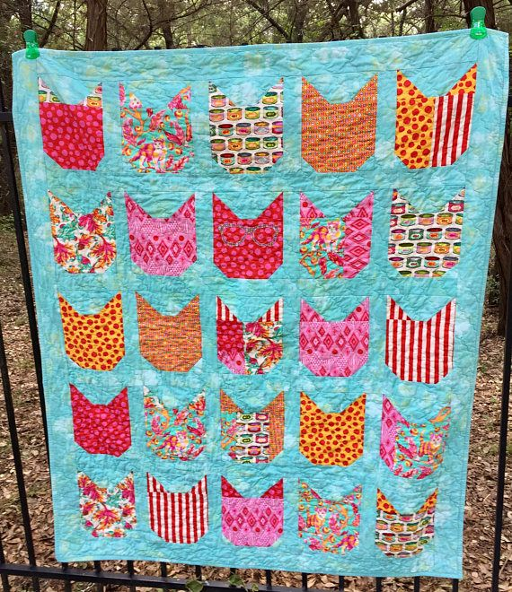 Ready to Ship Handmade Cotton Quilt Tula Pink Tabby Road fabric ... : handmade cotton quilts - Adamdwight.com
