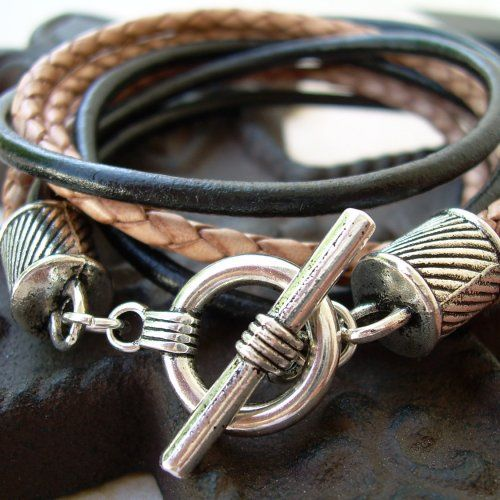 Mens Leather Bracelet  Four Strand Double Wrap Black and Natural Braid - Urban Survival Gear USA