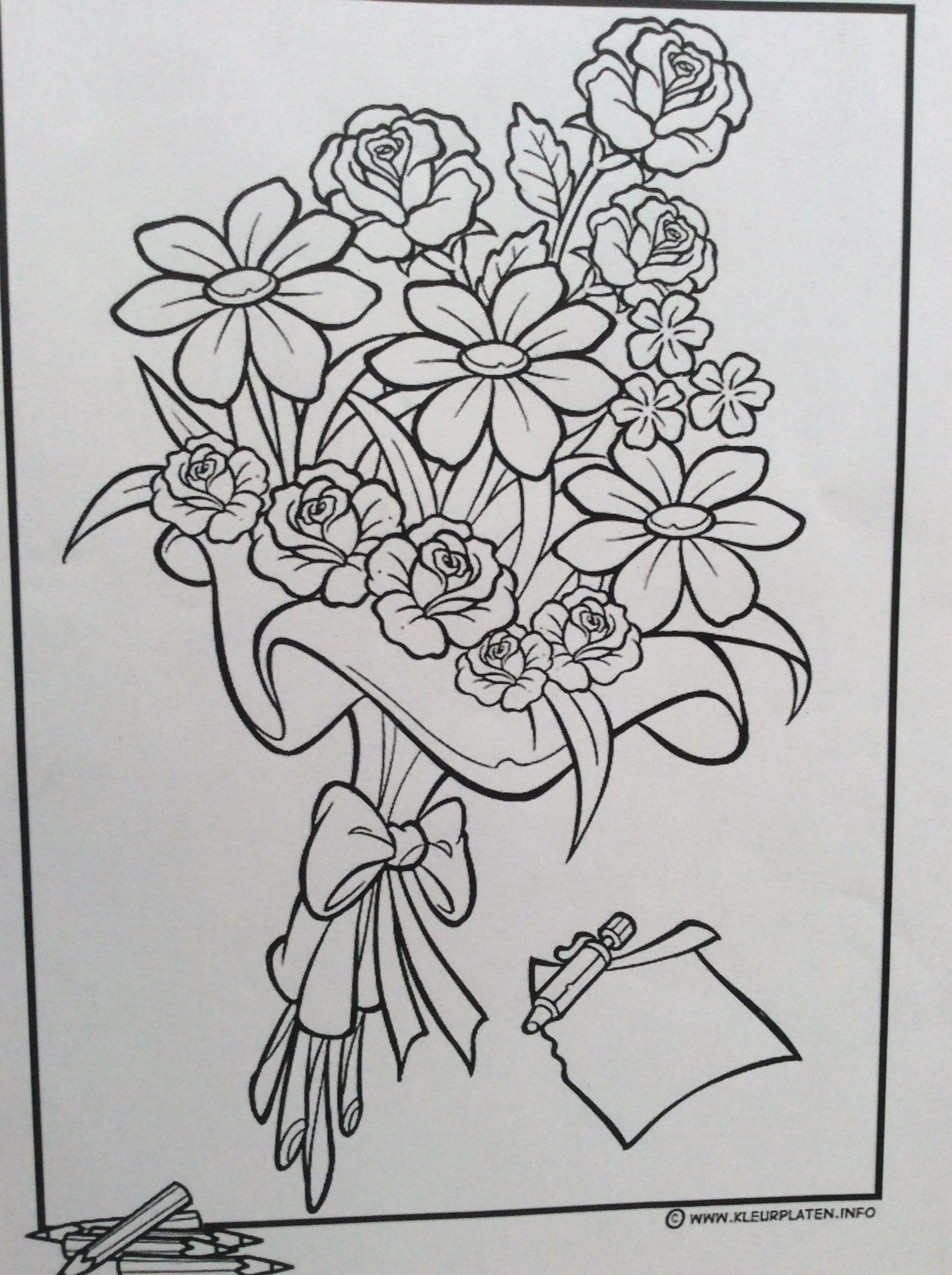 Pin By Eva On Moeder En Vaderdag Coloring Pages Flower Painting Colorful Flowers