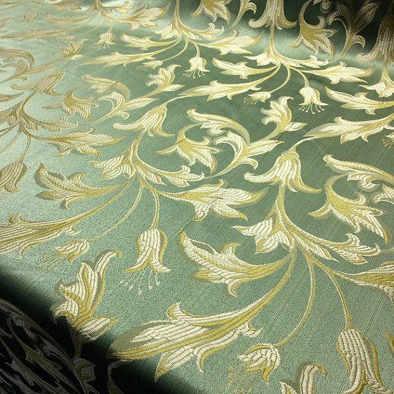 Sage Green Gold Damask Jacquard Bloom Brocade Fabric 118