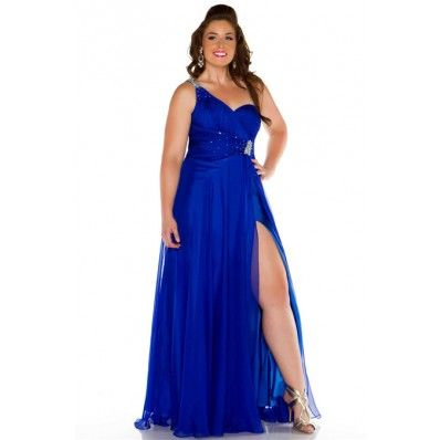 Sexy One Shoulder Long Royal Blue Chiffon Beaded Plus Size Party ...