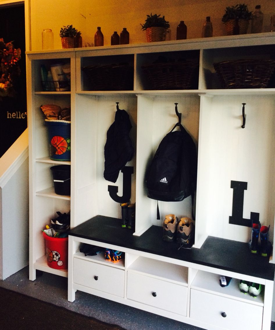 Locker System Ikea Hack In Garage With Images Ikea Mud Room Diy Locker Diy Storage Plans