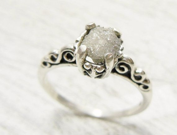Rough Uncut Diamond Ring Sterling Silver Engagement Ring Scroll