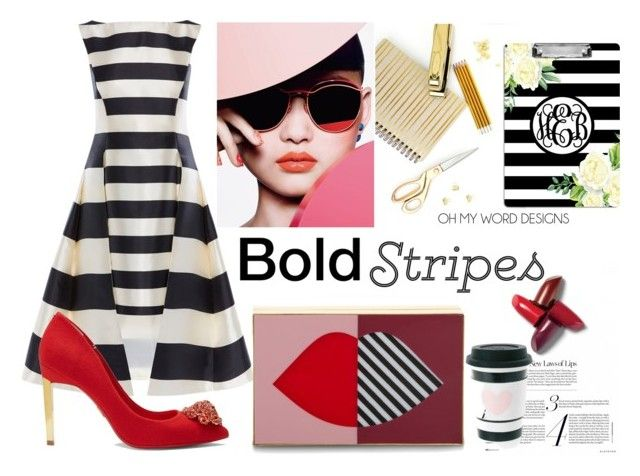 """Bold stripes"" by lidijana ❤ liked on Polyvore featuring Lulu Guinness, Ted Baker and BoldStripes"
