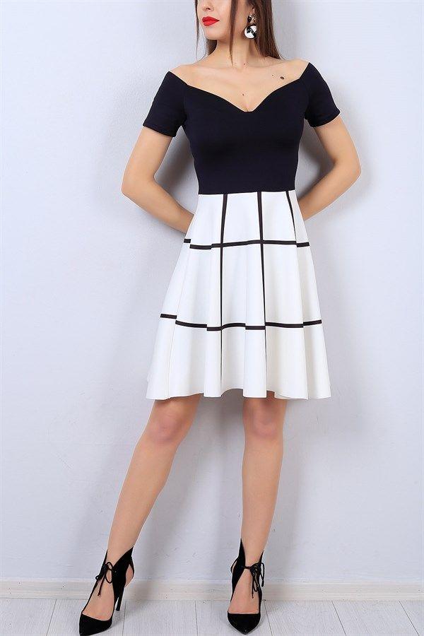 Photo of 49,95 TL Black Line Pattern Ladies Dress 13487B | The modamızb …
