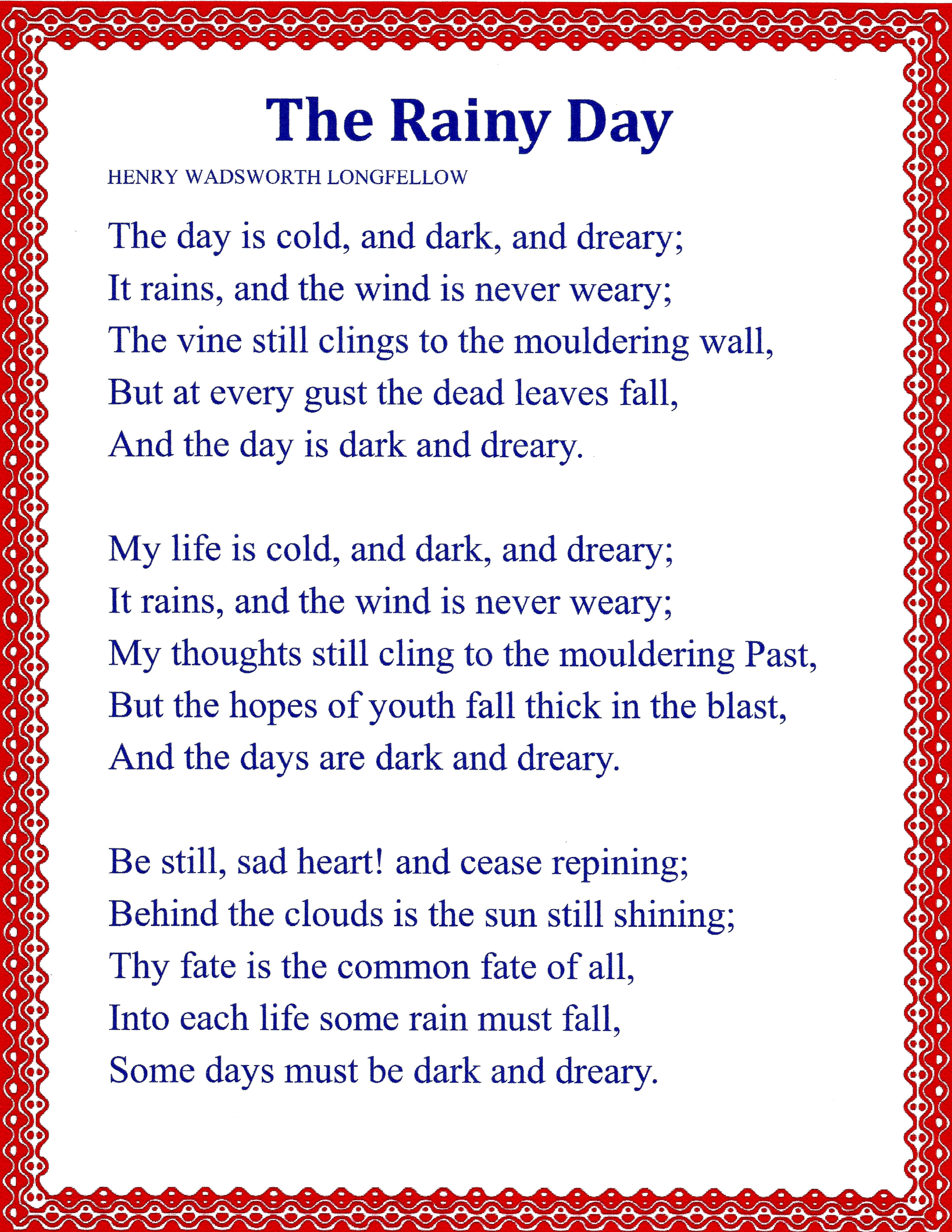 the rainy day poem by henry wadsworth longfellow