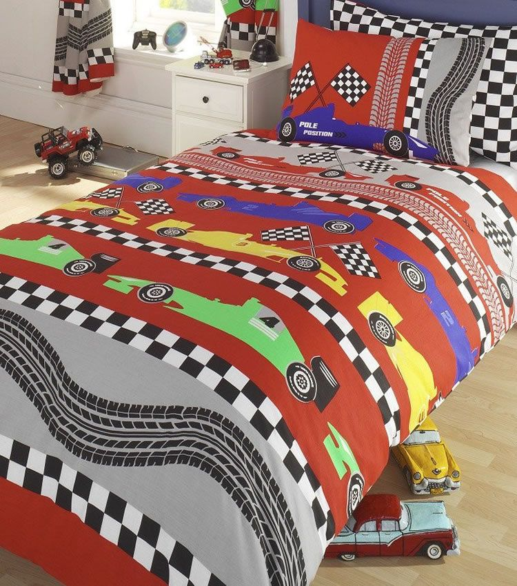 Red Checkered Race Car Bedding Full Duvet Cover