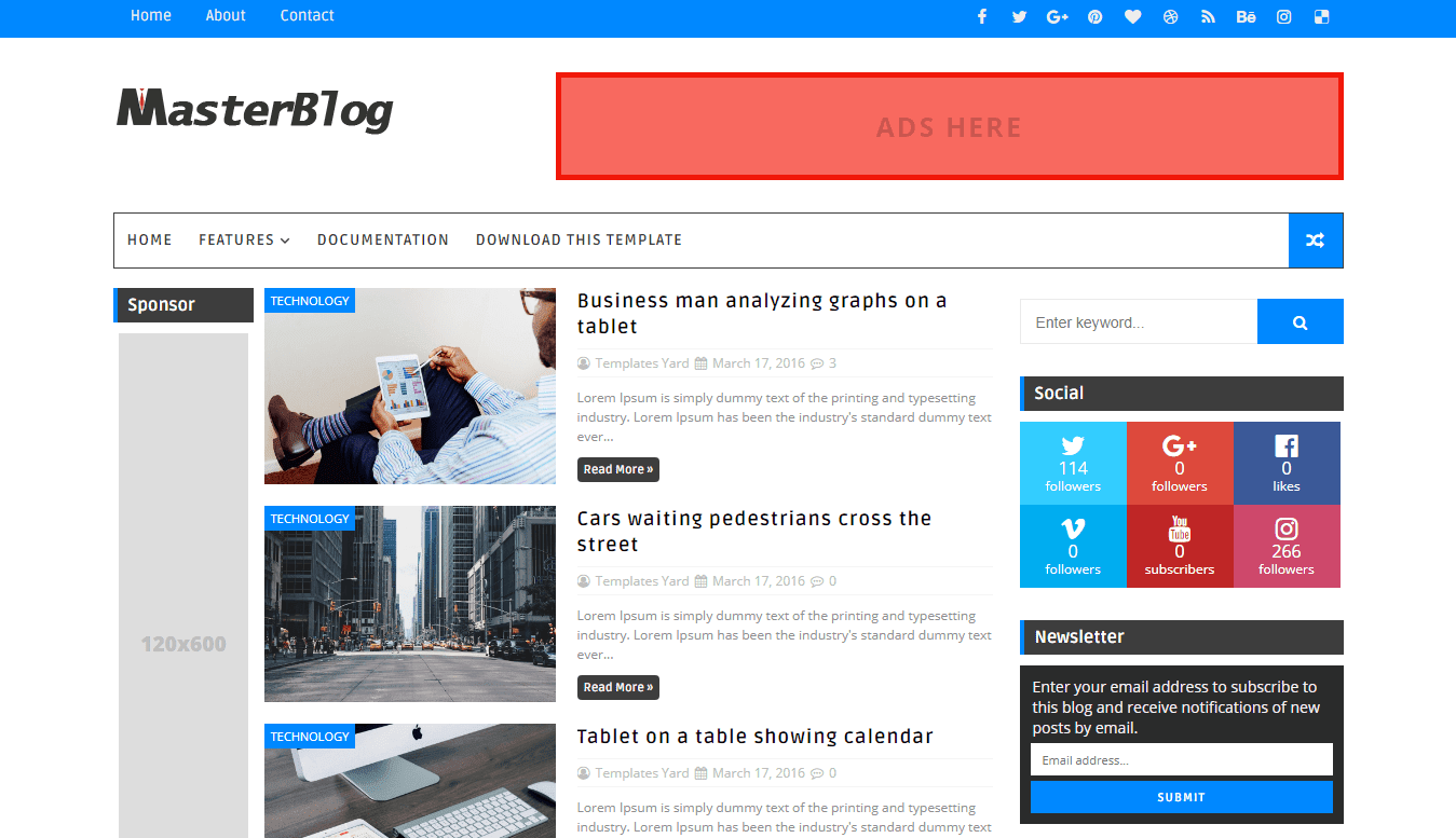 Live demo master blog is a 3 column blogger template specially for made for better ad placement it focuses on multi purpose