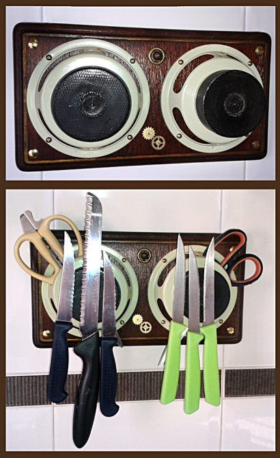 Magnetic Knife Storage from Recycled Speaker Knife storage