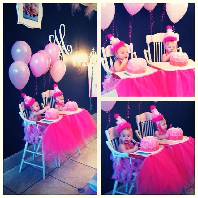 Twin Girls First Birthday Party Smash Cakes And
