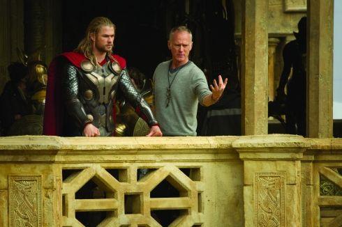 thor the dark world onset photos | THOR: THE DARK WORLD L to R: Thor (Chris Hemsworth) on set with ...