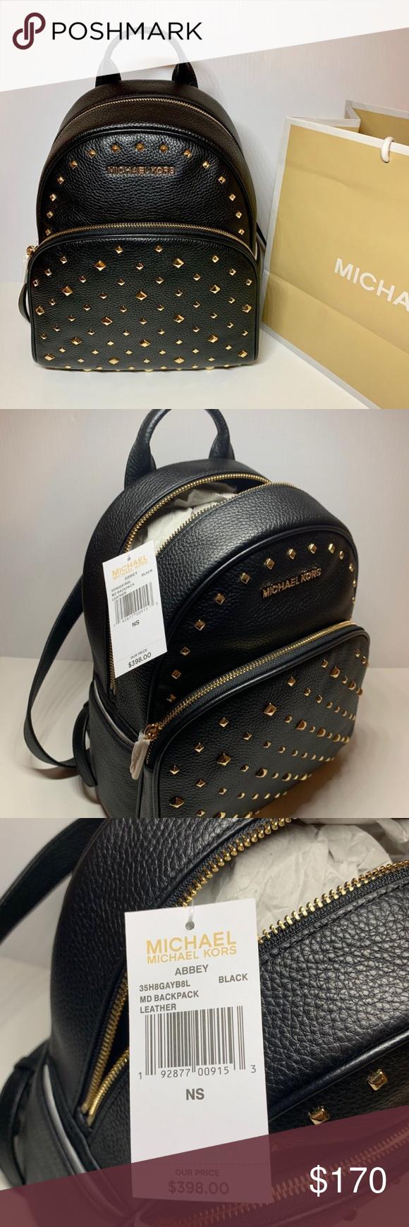 0d5f3c328e7b MICHAEL KORS Abbey MD Stud Black Leather Backpack MICHAEL KORS Abbey Medium  Studded Black Leather Backpack