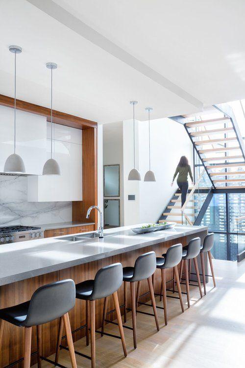 Modern kitchen with glossy white and walnut cabinets kitchendesign kitchendecor kitcheninspiration kitchenidea interiordesign homedecor also rh pinterest