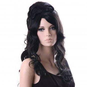 Neu Perücke Haar Wigs Weiblich Schwarz Gelockt Lang WFS371