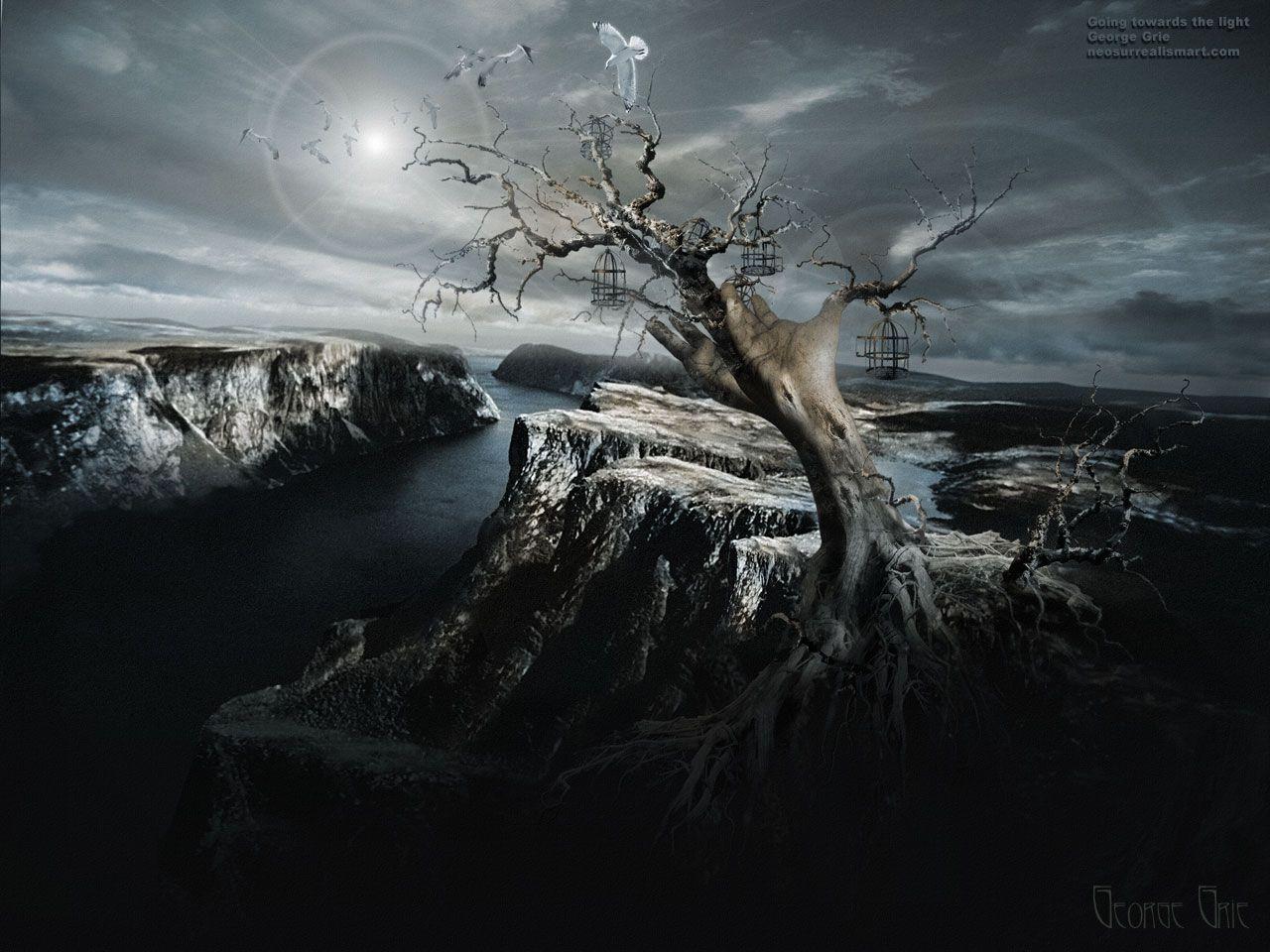 The Light 3d Wallpaper Dark Mystical Nature Spiritual Landscape