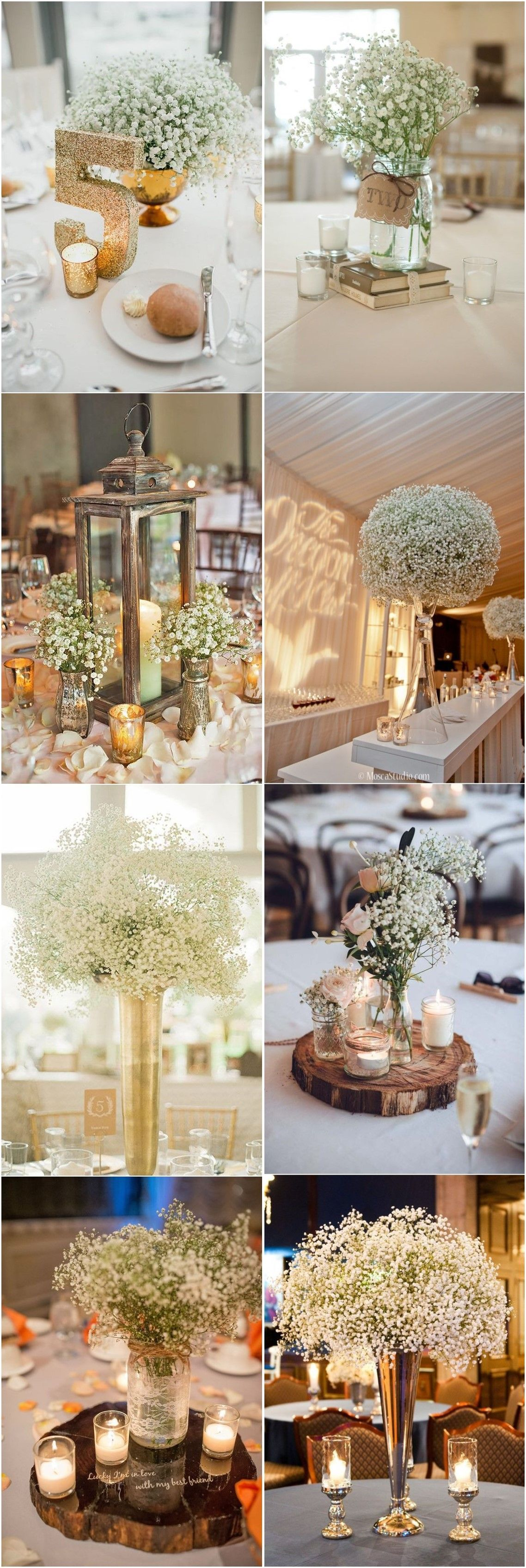 Wedding decoration ideas rustic   Rustic Babyus Breath Wedding Centerpiece Decorations Ideas