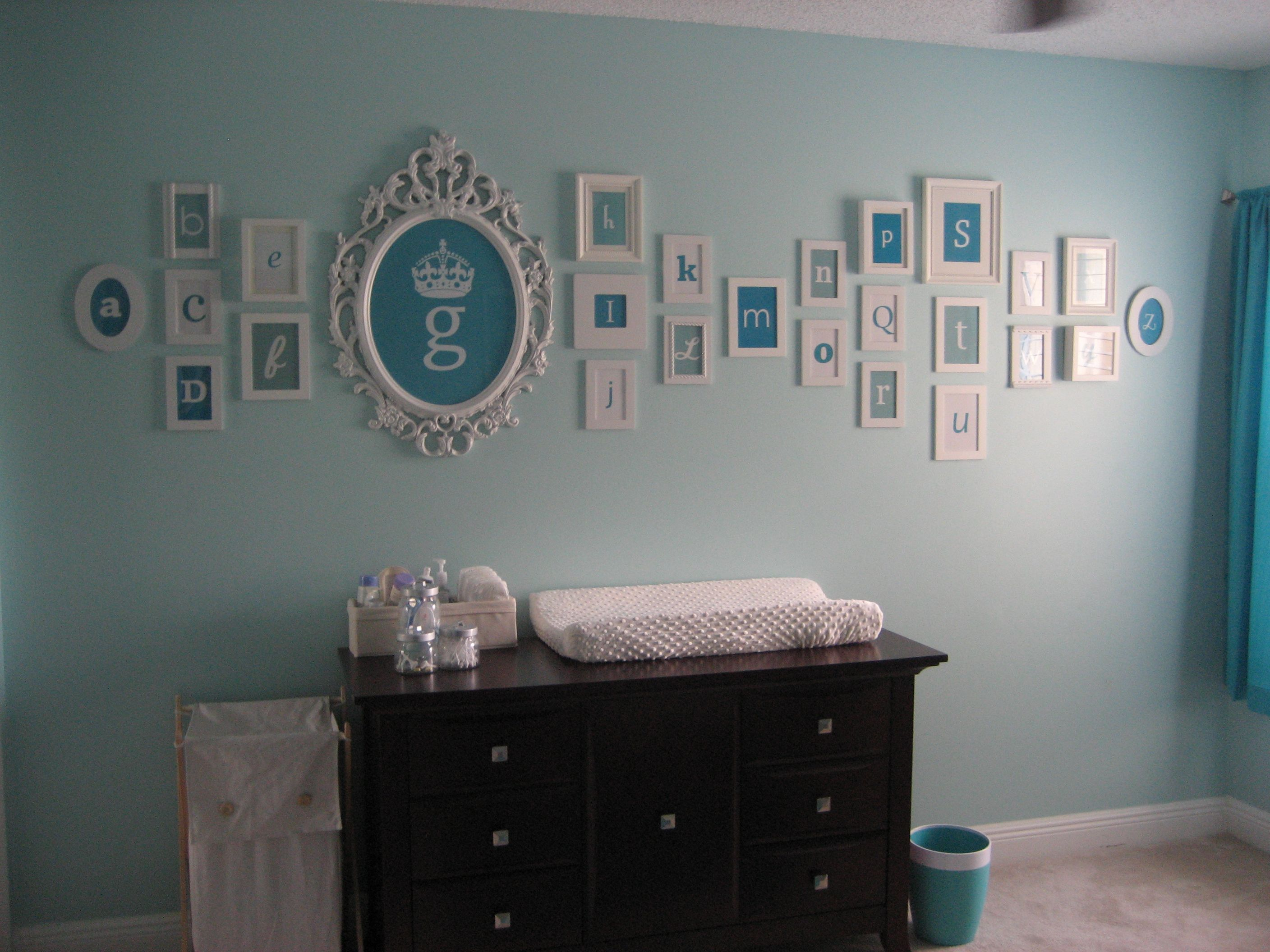 alphabet nursery decor lots of frames i just love this because g is my babys