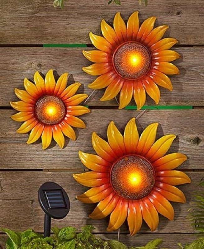 Set 3 Sunflower Floral Garden Wall Art Solar Light Metal ...