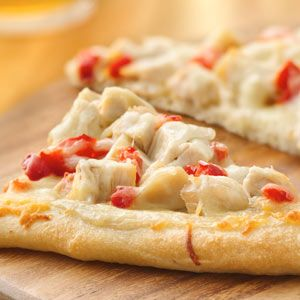 Chicken Alfredo Pizza. It's even better topped with salsa and sour cream