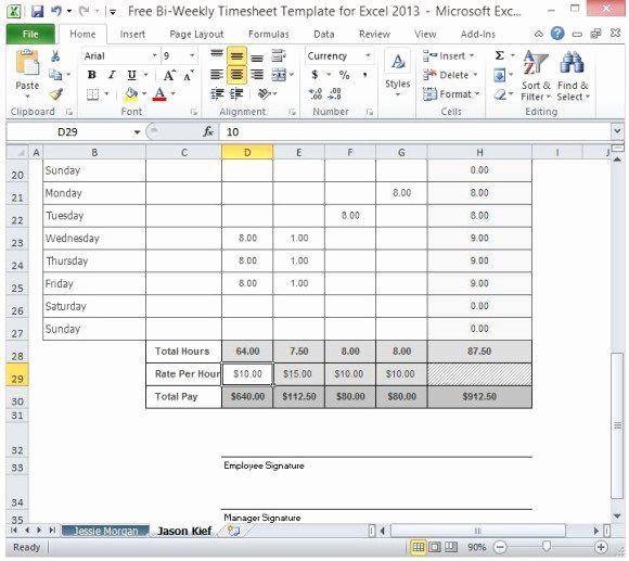 Employee Timesheet Template Excel Spreadsheet di 2020