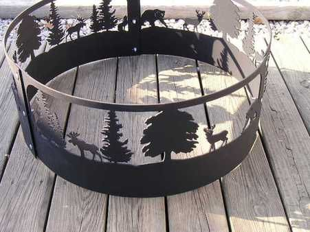 Wildlife Scene Moose Bear Dear Campfire Fire Pit Ring Cnc