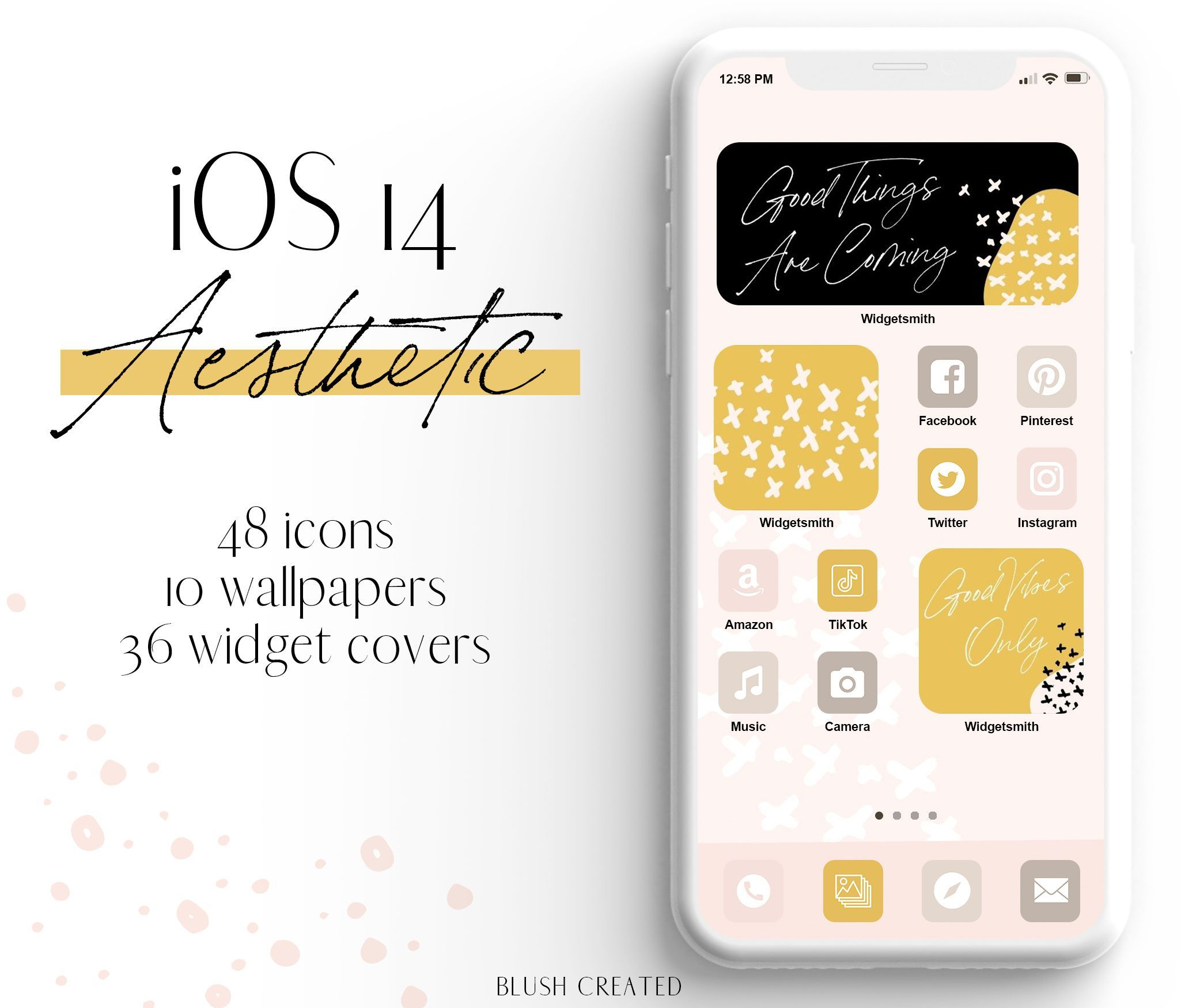 Ios 14 Aesthetic Pink Yellow Iphone App Icons Widget Images Blush Created App Icon Homescreen Iphone Apps