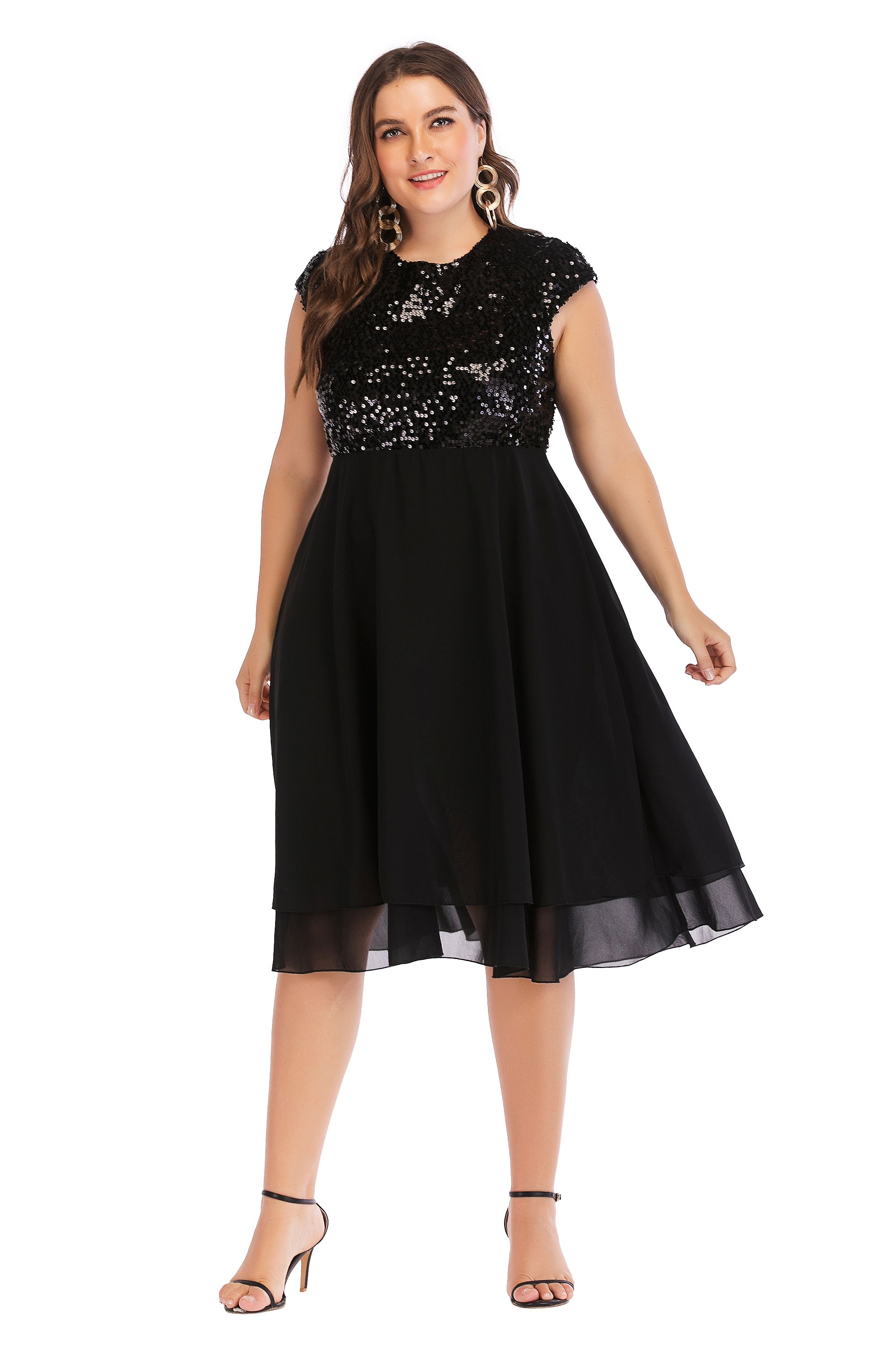 8b7cc7b373b8b ESPRLIA Womens Plus Size Sequin Short Cap-Sleeve Holiday Party Homecoming Midi  Dress