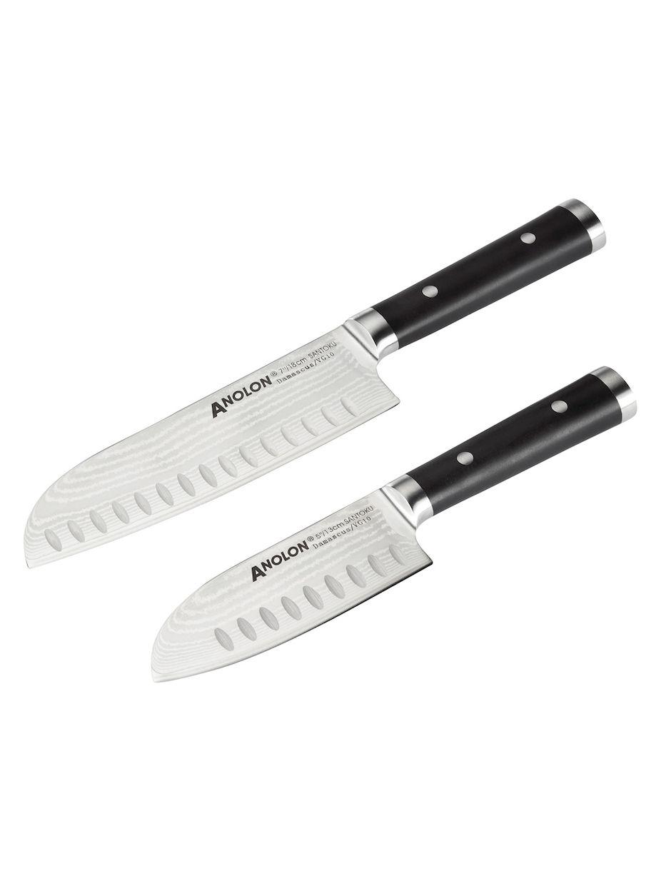 Anolon Imperion Damascus Santoku Knives Set Of 2 Santoku Knife Knife Sets Kitchen Knives