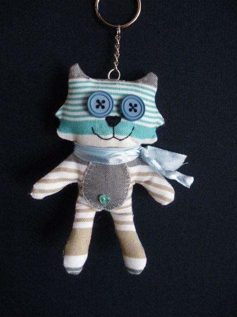 Porte-clés chat en tissus - Filetpatch | Motif de chat, Porte clé et Porte clef
