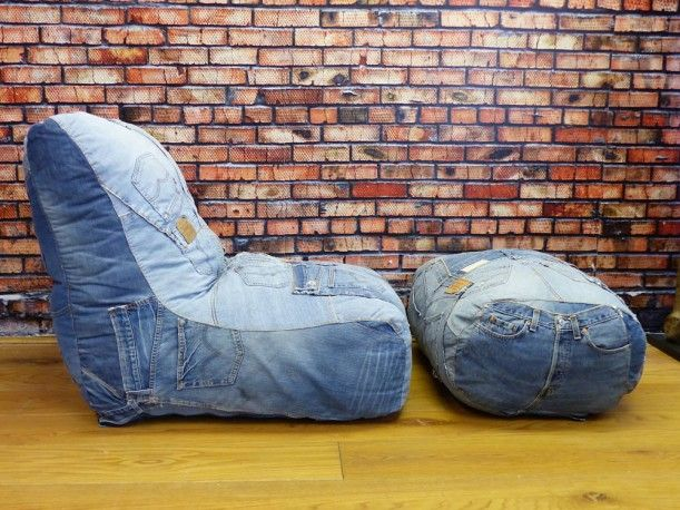 Blue Recycled Jeans Denim Sofa | Denim Couch | Retro| Vintage. Denim  CouchGaming ChairRecycled DenimBean BagsLevisUpcycled ...