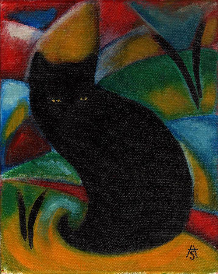 Black Cat Painting By Heidi Shaulis Black Cat Fine Art Prints Arte Del Gatto Immagini Gatti Neri