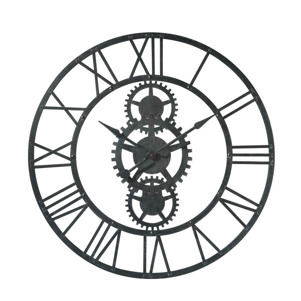 Woonaccessoires industrial clocks metal clock clock for Orologi da parete maison du monde