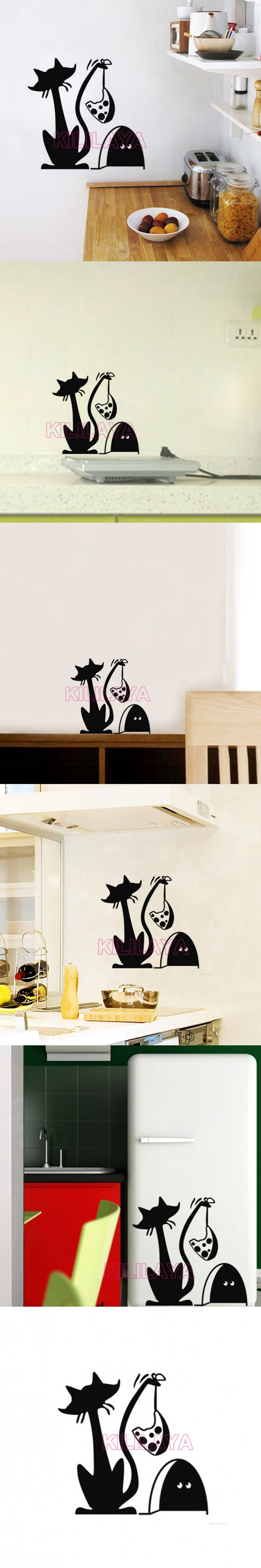 Funny Cat and Mouse Trap Vinyl Wall Decals Wallpaper for Kids Living Room Fridge Mural Wall Sticker Art Home Decor Decoration $7.99