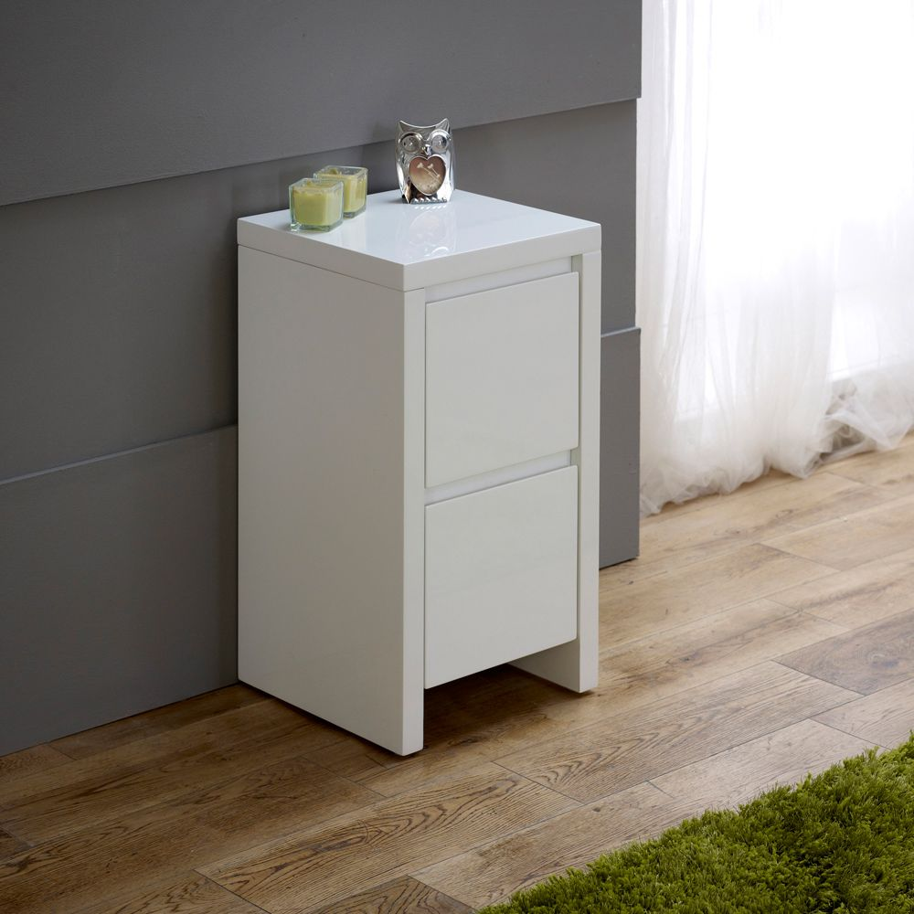 white high gloss slim 2 drawer bedside table master