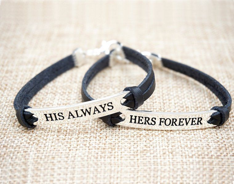 His And Her Bracelets Leather For S Jewelry Him Bracelet Sets Custom Boyfriend Friend Black