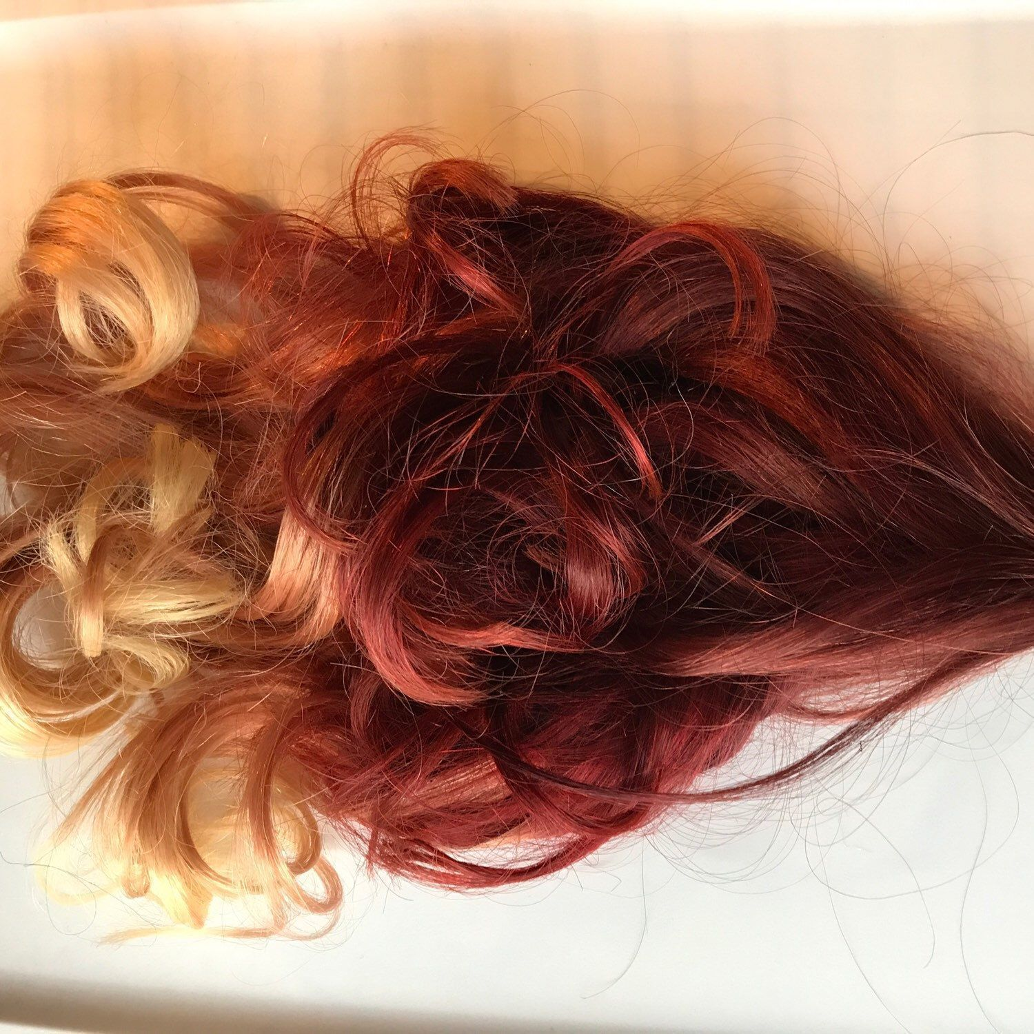 Custom Red And Blonde Clip In Ombre Human Hair Extensions Human