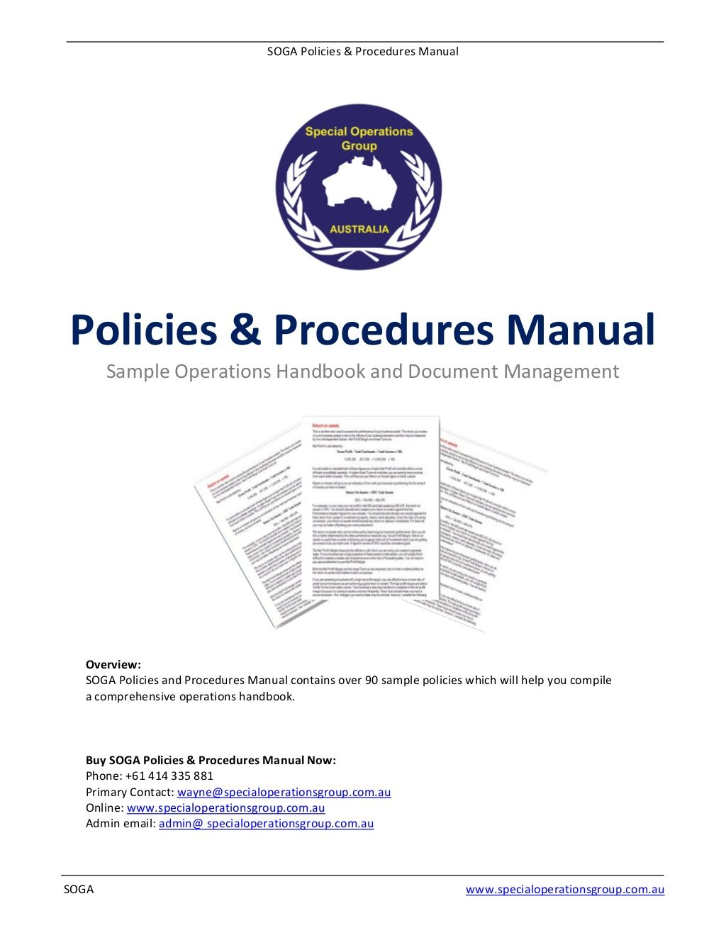 Soga Policies Procedures Manual Software Sample By Wayne Carney