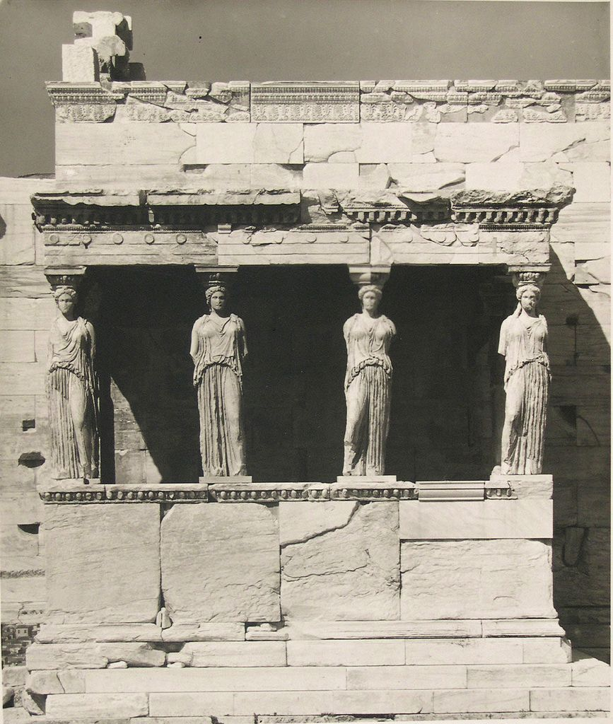 Acropolis, Athens, Greece, (Erectheum, Caryatid Portico from the front), by Walter Hege 1928-30