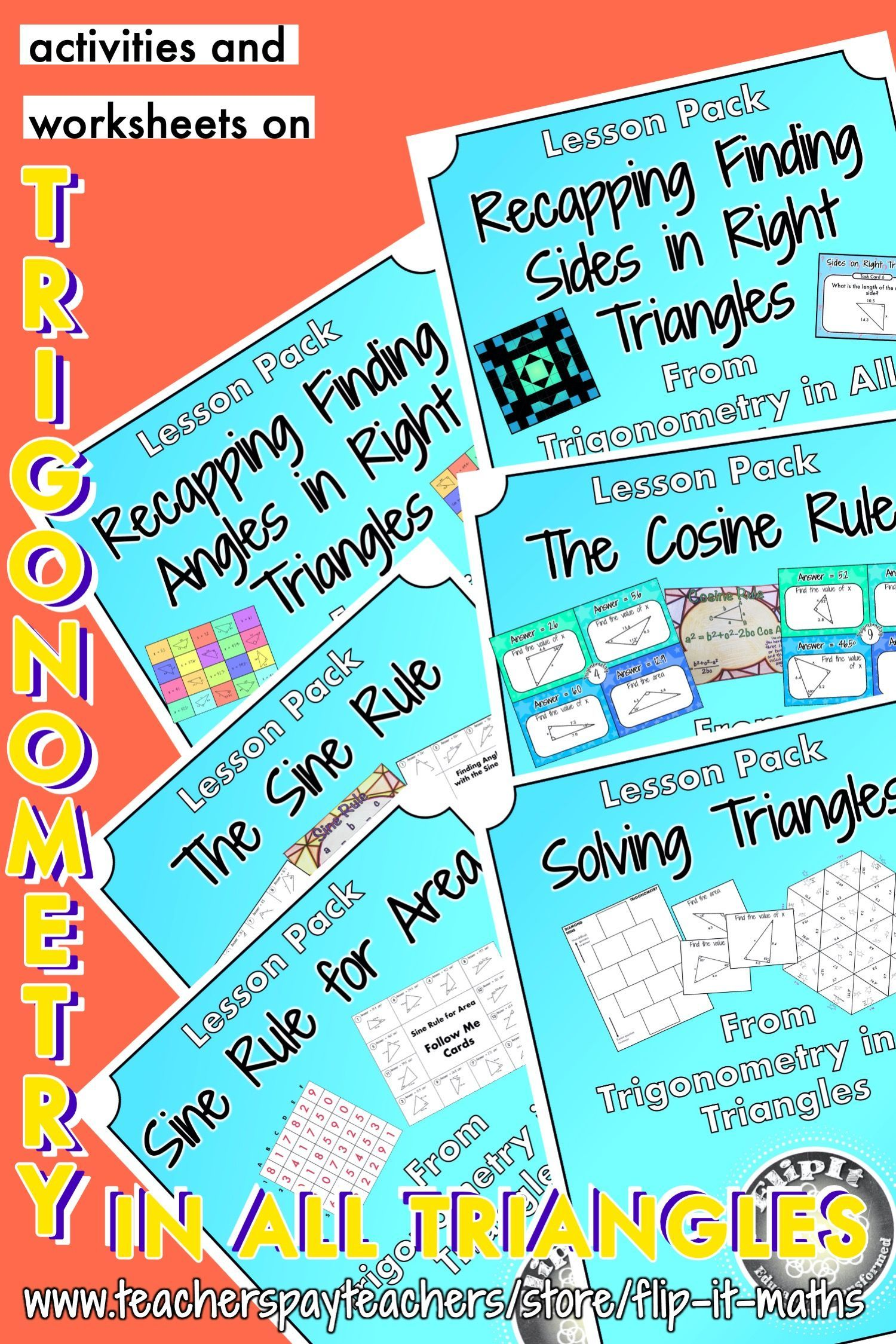 Trigonometry In All Triangles Bundle In 2020 Trigonometry Common Core Math Fractions Math Word Problems