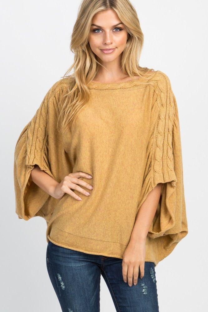1e4257405dd8fc Yellow Knit Poncho Dolman Maternity Top
