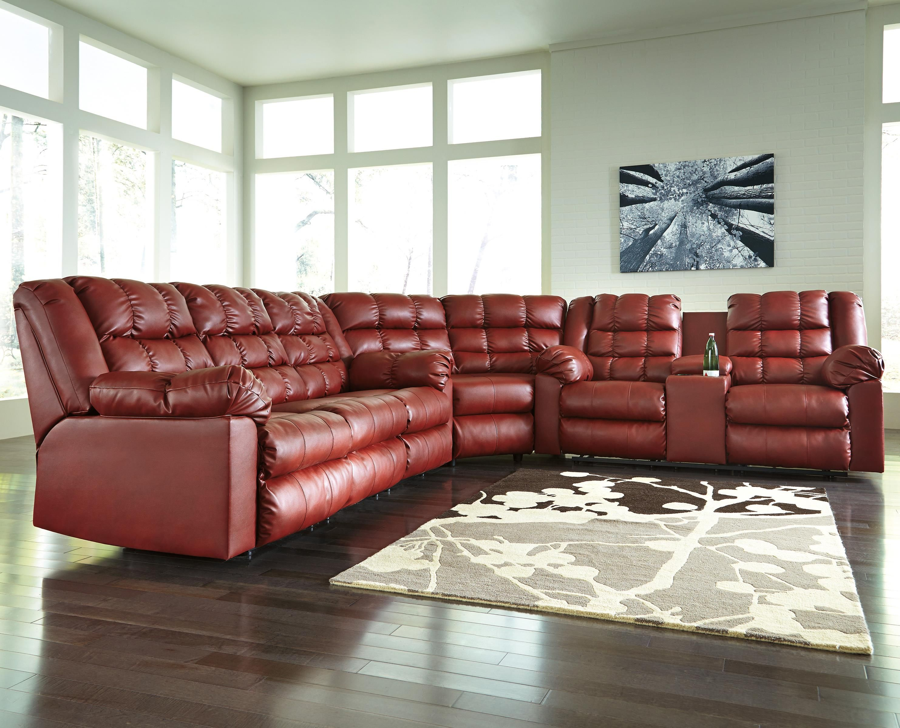 A wedge joins this sectional s reclining sofa and reclining