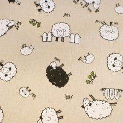 Tissu imitation lin imprimé moutons, campagne   Nos tissus Lin ...