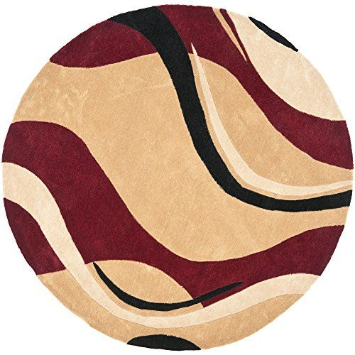 Safavieh Handmade Modern Art Abstract Waves Rust Ivory Polyester Rug Round Beige Size X