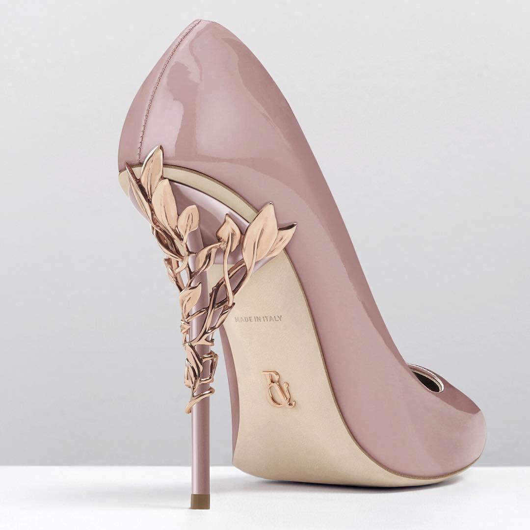 The patent Ralph & Russo 'Eden' heel pump with rose-gold heel ...