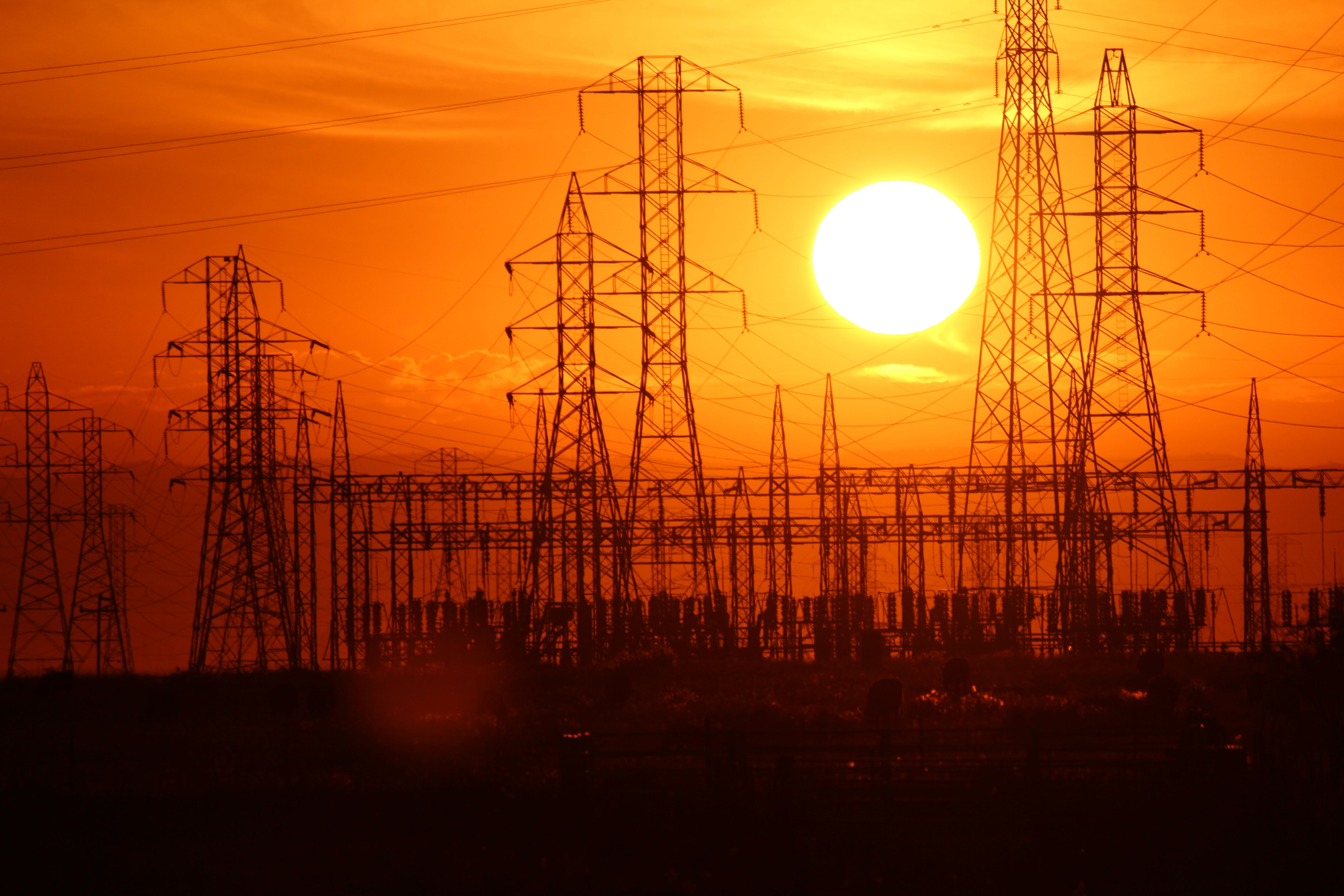 Sunset behind power lines | For the Linemen | Pinterest | Sunset ...