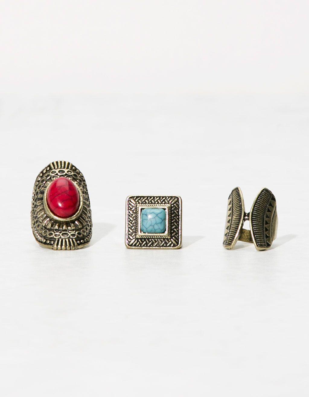 Σετ από 3 δαχτυλίδια κόκκινη και μπλε πέτρα παλιός χρυσός - Κοσμήματα -  Bershka Greece f1e8c0e681f