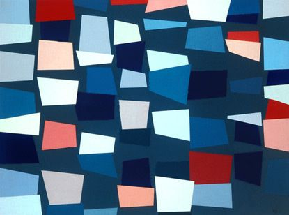 "Karl Benjamin - ""Small Planes: White, Blue and Pink"" (1957)."