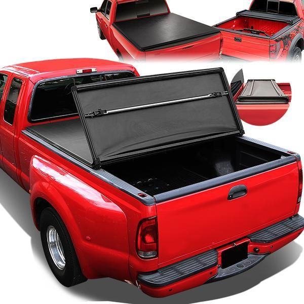 07 17 Toyota Tundra 5 5 Ft Bed Soft Folding Tri Fold Tonneau Cover In 2020 Tri Fold Tonneau Cover Tonneau Cover Pickup Truck Accessories