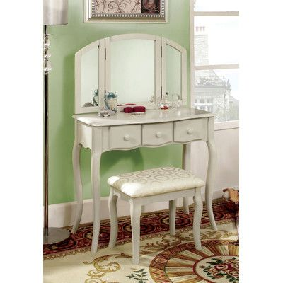 Hokku Designs Sophisticated Vanity Set with Padded Stool and Mirror - Bedroom Vanity Table